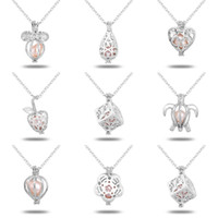 Wholeasle (compresa la catena) 18kgp Fashion Love Wish Perla / Perle Pendenti Locket DIY Collana di perle Pendenti di fascino Montaggi