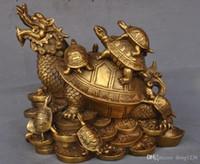 Chinese Fengshui Messing Reichtum Yuanbao Geld Drachen Schildkröte Schildkröte Tier Statue