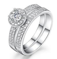 Двойной рост Алмаз восемь сердца восемь стрел 14 K белое золото обручальное кольцо