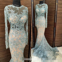 Sky Blue 2017 Zuhair Murad Официальные вечерние платья знаменитости Sheer Long Sleeves Illusion Bodice Lace Beaded Sexy Prom Occasion Party Gowns