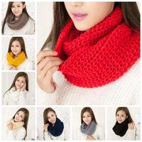 Nowa moda Damska dziewczyna zimowy szalik szaliki Wrap szale Ciepłe dzianiny Koło Koło Cowl Snood na 11 kolorach