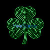 Gefülltes irisches Kleeblatt-Rhinestonemotiv-Eisen der hohen Qualität auf Übertragung für Kleiderzubehör
