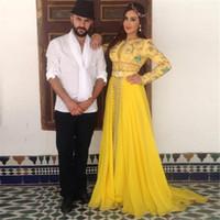 Vente chaude Dubai Perles Robes de soirée Longue arabe Kaftan Muslim Manches longues à manches longues Abendkleider Robe de soirée Robe de Soisere