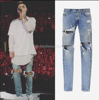 Wholesale-Justin Bieber Fear of God Best Version FOG Men Selvedge Zipper Destroyed Tour Pants Skinny Jeans Blue Jean Slim Fit God of Fear