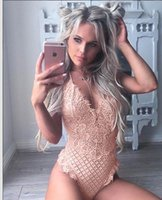 Nuevo Kawaii Lace Body Mujeres Sexy Bodycon Jumpsuit Summer One Piece Hollow Out Mamelucos Womens Fashion Femme Playsuit GV629