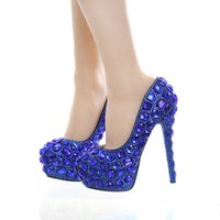 Wholesale royal blue wedding shoes buy cheap royal blue wedding royal blue rhinestone bridal dress shoes super high heel wedding party prom shoes blue crystal christmas party pumps women shoes junglespirit Image collections