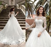 2021 nouvelles manches longues robes de mariée pure cou appliques a ligne corset back train balayer vintage dentelle plage robes de mariée vestidos de noiva