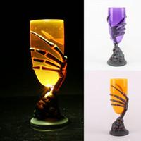 LED Ghost Claw Cup Suministros de fiesta de Halloween Plastic Horror Ghost Glass Bar Club Iluminación Tazas intermitentes Champagne Wine Beer Mug WX-C44