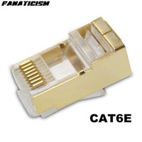 1000pcs / lot de haute qualité d'or RJ45 RJ45 CAT6e Lan câble fiche modulaire Adaptateur réseau CAT6 8P8C fiche modulaire du connecteur Ethernet