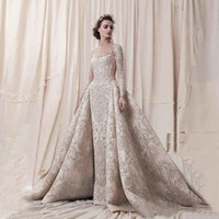 Elegant Sheer Neck Illusion Long Sleeve Prom Dresses Lace Ap...