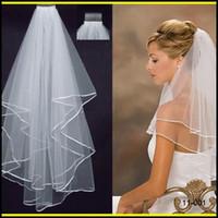 2017 the latest white ivory wedding bridal veil jewelry pearl ribbon edge comb veil short veil SD4584