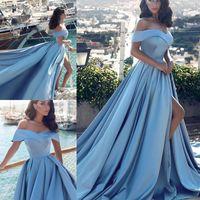 Céu azul alta divisão vestidos de noite 2018 fora do ombro simples vestidos de baile trem de varredura cetim mulheres vestido de festa formal barato vestidos