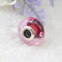 Edell Adatto Bracciali Pandora Rosa Jasmine Murano Charm Bead 925 Silver Flower perle di vetro Diy Belle monili che fanno