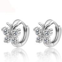 여자 925 스털링 실버 럭셔리 크리스탈 스터드 귀걸이 나비 디자인 귀걸이 여자 귀고리 선물