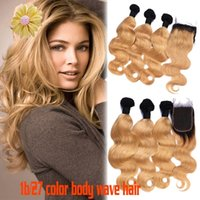 Ombre Hair Extensions #1b 27 Honey Blonde Ombre Dark Root Vi...