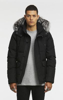 Mens short Down parkas hooded with sliver fox furs collar sc...