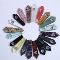 HJT Wholesale preiswertes Mischedelstein-Quarz-Kristallpfeifen, die Zauberstäbe-Tabakpfeifen Reiki-Rauchen heilen Freies Verschiffen !!