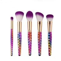 5 Pz / set Set Pennelli Trucco Set Arcobaleno / Oro Rosa Cosmetic Mermaid Tail Pennello ovale Make up Tool Kit Bilance Collezione Horn DHL Free A08