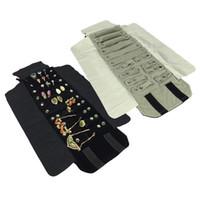 Porta rotolo di gioielli per orecchini ad anelli Organizzatore Portaoggetti per gioielli Borse a sospensione portatili Custodie in velluto nero / grigio 15 * 10 cm