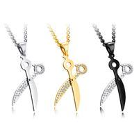 Хип парикмахеры ножницы ожерелье из нержавеющей стали волос стилист косметолог Шарм Кристалл циркония кулон ожерелья Для мужчин ювелирные изделия