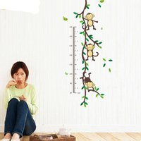 Height Chart Wall Decals Naughty Monkey Cartoon Decor Sticke...
