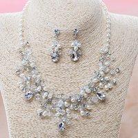 Set di collana di cristallo di cristallo del partito nuziale Set di gioielli di nozze lussuosi set di gioielli di nozze di alta qualità orecchini shinning tiaras argento placcato