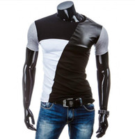 Summer Men T Shirt Casual Patchwork leather Cotton Tee Shirt...