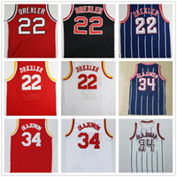 675d019ffc7 ... Basketball Men Sleeveless Cheap Throwback Mens 22 Clyde Drexler Jersey  Black Red Retro 34 Hakeem Olajuwon ...