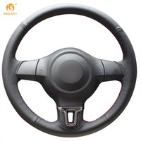 Mewant Black Genuine Leather Steering Wheel Cover for Volksw...