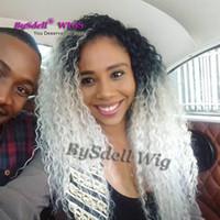 Güzellik Uzun Kıvırcık Sentetik Saç Peruk Sentetik Dantel Isıya Dayanıklı Ön Peruk Siyah Kadınlar için Kinky Kıvırcık Siyah Ombre Gümüş Beyaz Dantel Peruk
