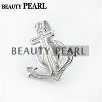 Bulk of 3 Piece Anchor Pearl Jaula Colgante Montaje Deseando Perla Regalo 925 Sterling Silver Lockets