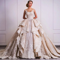 2021 New Design Ball Gown Wedding Dresses With Overskirts Lace Appliques Sparkle Garden Bridal Gowns Dubai Vestidos De Mariage Custom Made