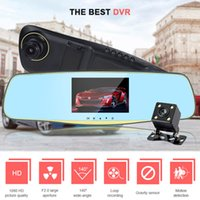 hkt27 5. 0 Inch Rearview Mirror Car DVR Dual Lens Camera Auto...