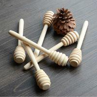 Venta al por mayor- 100pcs / lote 14cm longitud de longitud miel de madera conmovedor palillo de madera cuchara miel dipper party suministro