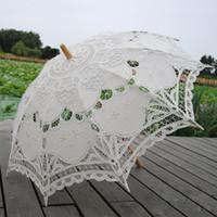 bc18f76fb8ab 68cm Manico lungo Handmade Art wedding capesante Bordo Ricamo Puro cotone  pizzo da sposa Ombrello parasole