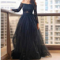 Charming Black Lace Prom Dresses 2017 Party Gowns Formal Eve...