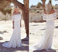 Simple de dentelle Pays Boho robes de mariée de l'épaule balayage train manches courtes à bas prix 2017 Plage de Bohème Robes de mariée Plus Size