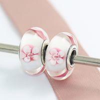 5 unids 925 Sterling Silver Pink Cherry Blossom cuentas de cristal de Murano se adapta Pandora European Jewelry Charm pulseras collares colgantes