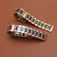 Watchband الملونة مختلطة الأسود والذهبي حزام حزام سوار سوار أزياء مصقول السيراميك الساعات الملحقات ل S2 S3 20 22