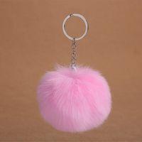 8см Fluffy Rabbit Fur Ball помпон Key Chain для женщин искусственного меха Pompom брелок Женский брелок держатель мешка автомобиля Аксессуар Свадебный подарок