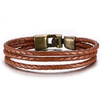 Punk Brown Braided Leather Bracelet for Men Women Genuine Le...
