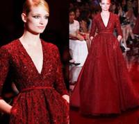 Abiti da sera splendidi Elie Saab Red Noble Vestiti celebrità Paillettes Scintillanti Scollo a V Scollatura a terra Lunghezza maniche lunghe Vestito formale da pista