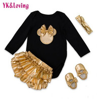 popular Girls Clothes Sets rompers + pants set with Golden B...