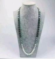 Новый штраф ювелирные изделия перлы 10-11мм природный австралийский Южного моря черный белый серый жемчужное ожерелье 38 дюймов