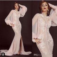 2019 nova sereia apliques de fenda dianteira pêssego baile árabe saudita arábia longa manga muçulmana vestido de noite vestido 050