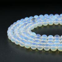 8mm Natural White Opal Edelstein Perlen Runde Lose Perlen Halbedelstein Für Schmuck Machen Diy Strand 48 stücke Pro Set
