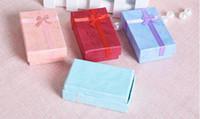 شحن مجاني 24 قطعة / الوحدة 5x8x2.5 سنتيمتر تغليف المجوهرات حلقة القرط قلادة مجموعة هدية مربع شحن مجاني