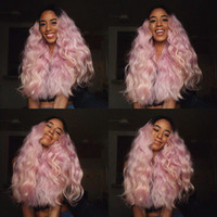 180%Density Light Pink As Smoke Ombre Hair Synthetic Lace Fr...