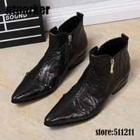 2017 New Excellent Design Men Boots Black Genuine Leather Dress Cowboy Boots Zip Men Boots, EU38-46!