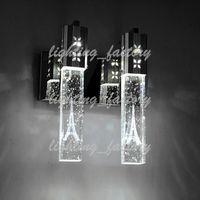 5W LED 크리스탈 거품 벽 램프 크리스탈 실린더 모양 열 거실 벽 램프 미러 빛 RGB 따뜻한 흰색 샹들리에 빛 WAH-280